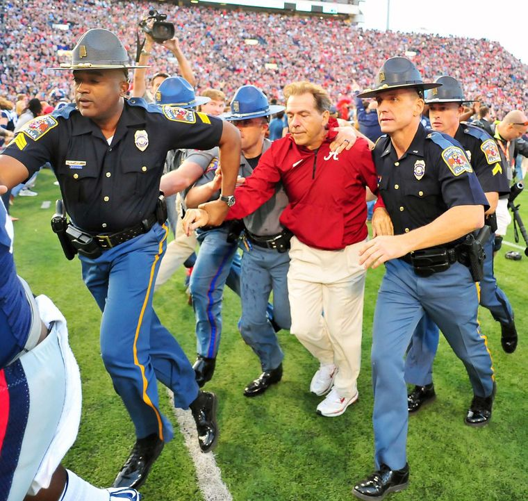 Nick Saban gets run out of Oxford, MS